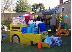 Cardboard Bulldozer  I really want to make this for my sons 4th b-day party!