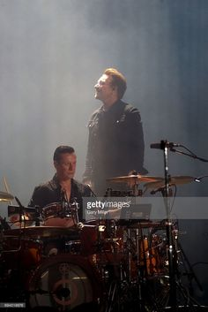 Larry Mullen Jr. (L) and Bono perform in concert with U2 during day 2 of the Bonnaroo Music & Arts Festival on June 9, 2017 in Manchester, Tennessee.