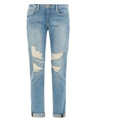 Frame Denim Le Garçon Lucielle mid-rise boyfriend jeans (£100) ❤ liked on Polyvore featuring jeans, pants, bottoms, pantalones, trousers, light indigo, distressed boyfriend jeans, ripped jeans, blue jeans and mid rise skinny jeans