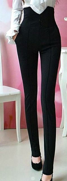 Women Hight Waist Black Skinny Pants // I bought these, a bit disappointed... They look more like cheap leggings than anything else... They absolutely do NOT look like sexy suit pants :(: