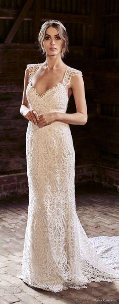 anna campbell 2018 bridal cap sleeves sweetheart neckline full embellishment elegant sheath wedding dress lace rasor back sweep train (13) mv -- Anna Campbell 2018 Wedding Dresses