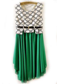Sleeveless Print Contrast Green Asymmetric Hem Chiffon Dress