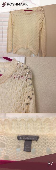 Cream, long sleeve! Very soft, diamonds down both shoulders, open holes! Worn once! Sweaters Crew & Scoop Necks