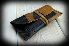 Leather tobacco pouch Handmade patchwork bag by PeaceElements