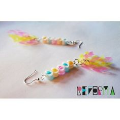 Sweet, colorful earrings made from a cut-up straw?! #recycled #handcrafted…