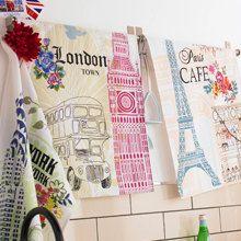 Set LONDON and PARIS Tea Dish Towels - Premium Cotton - Great Gift Idea. $14.95, via Etsy.