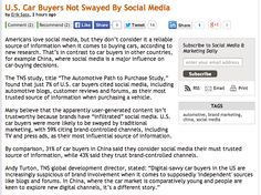 """U.S. Car Buyers Not Swayed By """"INFILTRATED"""" Social Media http://www.mediapost.com/publications/article/219767/us-car-buyers-not-swayed-by-social-media.html"""