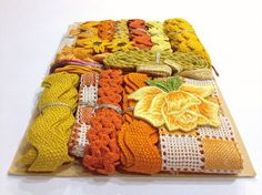 Vintage YELLOW & ORANGE Crazy Quilt by NiftyThriftyDryGoods