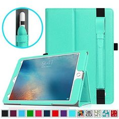 iPad Pro 9.7 Case with Apple Pencil Holder - Fintie Premium Vegan Leather [Slim Fit] Folio Standing Protective Cover Bundle with [Removable] Apple Pencil Holder Sleeve, Mint Green