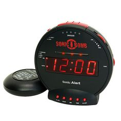 Desperately trying to find an alarm that will actually wake me up in the morning. Sonic Boom With Super Shaker - it has a 113-decibel alarm—about as loud as a jackhammer. Also accompanied by red flashing lights and bed-shaker unit (which goes beneath your mattress).