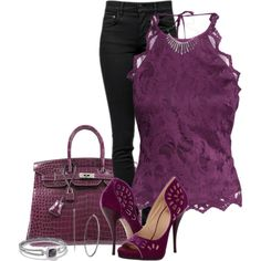 A fashion look from July 2015 featuring halter shirt, skinny fit jeans and stiletto pumps. Browse and shop related looks. Purple Outfits, Jean Outfits, Spring Summer Fashion, Winter Fashion, Viktor Rolf, Fancy Clothes, Clothes For Women, Professional Outfits, All About Fashion