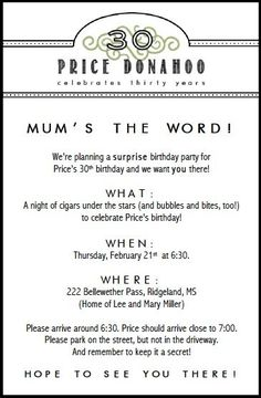 Birthday party invitations adult