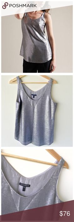EILEEN FISHER Seqnin Gray Silk Shell Top Classy and chic Eileen fisher sequin Gray shell top... Features include: double V-neck / Full silk lining..A little natural wear but still in excellent condition...NWOT Eileen Fisher Tops Tank Tops