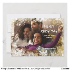 Merry Christmas White Gold Snowflakes 5 Photo Holiday Card #zazzlemade Merry Christmas Greetings, Holiday Greeting Cards, Holiday Photo Cards, Christmas Card Template, Personalised Christmas Cards, Family Photo Collages, Christmas Holidays, Christmas Stuff, Snowflakes