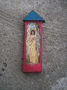 Angel with a Bird  Little Rustic Shrine Hand Made of  by Popielnik, $48.00