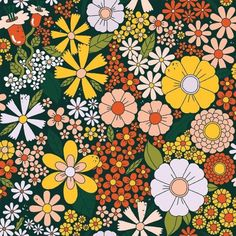 fondos background flower power floral pattern by Megan McNulty 60s Art, Retro Art, Hippie Flowers, Retro Flowers, Retro Floral, Photo Wall Collage, Collage Art, Pattern Art, Print Patterns