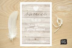 Nautical Save the Date, Beach Wedding, Rustic Save the Date - digital or printed invite, wooden save the date, typography, white calligraphy on Etsy, $15.50