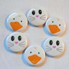 "Chicken & Bunny Face Easter Flatback - Pin Back Buttons 1"" Embellishment Ebay $1.62 + $2 ship"