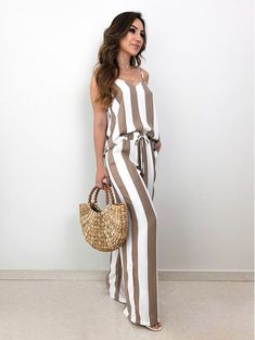 Sexy Cold Shoulder Backless Stripes Frill Jumpsuit