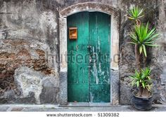 Photo of facade oh old house with green door and palm