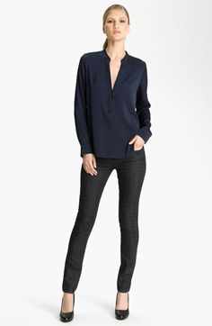 Vince Silk Blouse & Skinny Jeans | Nordstrom  I like the top, but silk is too high maintenance for a mom!