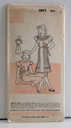 Vintage 1930s Woman's World Pattern - Girl's Dress No. 5871 Size 9, Factory Folded via Etsy $15.00