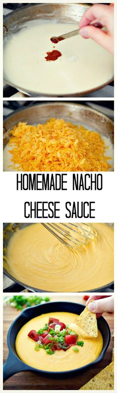 Homemade nacho cheese sauce recipe, made with only five all-natural ingredients, and takes ONLY 10 minutes to make! Homemade Nacho Cheese Sauce, Homemade Nachos, Homemade Sauce, How To Make Cheese Sauce, Homemade Art, Sauce Recipes, Cooking Recipes, Nacho Sauce Recipe, Skillet Recipes