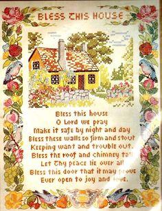 Vtg Paragon BLESS THIS HOUSE Prayer Cross Stitch Sampler Kit Stamped Bluebirds #ParagonNeedlecraft #Sampler