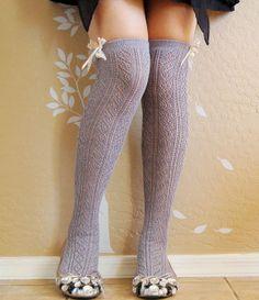 0fdf23cf1 Beautiful Vintage style cream long socks