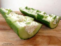 Castraveti umpluti cu feta si ierburi aromate.  Cucumber bites stuffed with feta cheese and basil, dill.