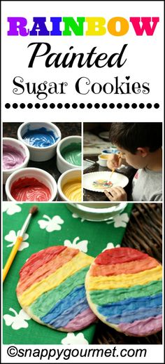 Rainbow Painted Sugar Cookies - Cute craft and cooking project for St. Patrick's Day! snappygourmet.com