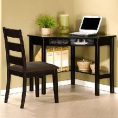 Large Corner Writing Desk and Chair - Black