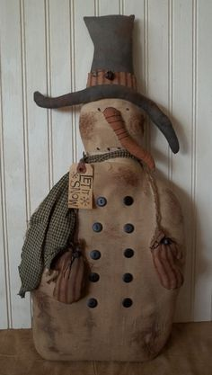 Primitive Grungy Big Let it Snow Snowman Christmas Doll #NaivePrimitive