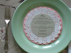 DIY Wedding Menu - Doily Charger