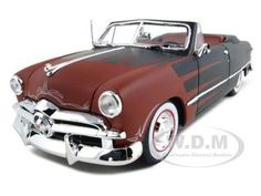 "1949 Ford Convertible Black/red ""all Stars"" Diecast Car Model 1/18 Die Cast Car By Maisto"