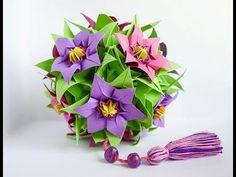 New Ideas for decoration and gifts. Beautiful kusudami flower ball Кусудами цветок оригами - YouTube