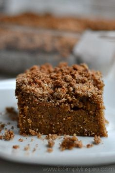 Bring the taste of Fall to your morning with this fabulous healthy Pumpkin Coffee Cake. No refined sugar, dairy free, gluten free and paleo.