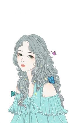 Girl brushwork inserts picture line butterfly Wallpapers for iPhone X, iPhone XS and iPhone XS Max - Free Wallpaper Cartoon Girl Images, Girl Cartoon, Cartoon Art, Manga Girl, Anime Art Girl, Cute Love Stories, Girly Drawings, Korean Art, Beautiful Anime Girl