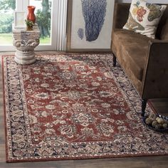 Safavieh Artisan Rust/ Navy Cotton Rug (5'1 x 7'6)