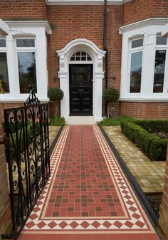 Bespoke Pattern, Victorian Floor Tiles by Original Style Front Garden Path, Front Path, Front Gardens, Outdoor Gardens, Tile Steps, Door Steps, Edwardian House, Victorian Cottage, Beautiful Buildings
