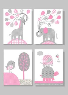 Gray and Pink Nursery Art Elephant Bird Turtle Giraffe Nursery Baby Decor Girl's Room Toddler Decor 8 x 10 or 11 x 14 Set of 4 Prints Canvas...
