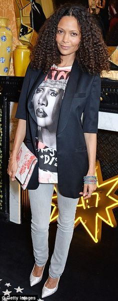 Thandie Newton rocked a David Bailey x The Bleach Room Grace Jones Printed Tee, skinny pale grey jeans and white-silver sparkly stilettos