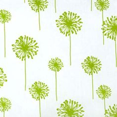 Chartreuse White Dandelion Floral Decorating Fabric
