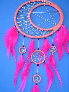 """DREAM CATCHER (LARGE 10"""") CRESCENT MOON PENTAGRAMS 