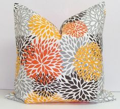 Gray and Orange Pillow Cover