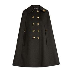 Dolce & Gabbana Embellished-collar wool cape ($2,997) ❤ liked on Polyvore featuring outerwear, coats, grey, gray coat, gray wool coats, grey cape coat, wool cape coat and double breasted woolen coat