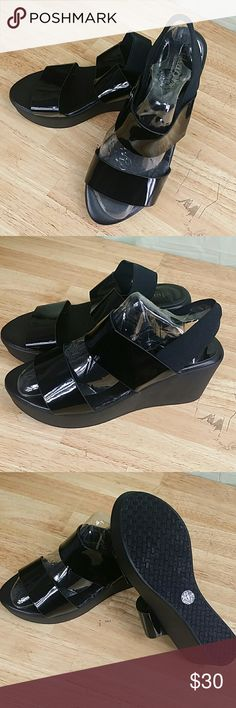 "Charles By Charles David Francis Womens Platforms Charles by Charles David  Francis Elastic Sandals, size 6-M US, color black, open toe, strap front vamp, elasticized slingback, patent finish, wedge heel, approx. 2.75"" heel, 1.25"" platform, patent upper, manmade sole, compare $90.00 store retail price value, comes new with tag in plastic package as closeout item in good cosmetic condition. Charles David Shoes Sandals"