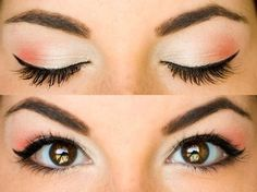Pink and white eyeshadow with liquid eyeliner - Eye-popping color (no pun intended).