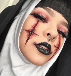 WEBSTA @ color.creep - REACH OUT AND TOUCH FAITH #michaelhussar #janeenersss #specialeffectsmakeup #nun #halloweenHighly inspired by one of @janeenersss recent makeup looks and @michael_hussar 's glossy lips ❤️ Theyre both amaaazing artists and just ooze creativity. EYES: @katvondbeauty #shadeandlightpalette (the rusty color) along with #bloodmilk from the #serpentinapalette FACE: #katvond #lockittattoofoundation in light 48 and #shadeandlightcontourpalette. The sfx is all @bennyemak...