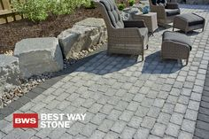 Best Way Stone > Paver: Pathway (Grey Mix w/ Ultra Black border) #outdoor #backyard #patio #landscape #design